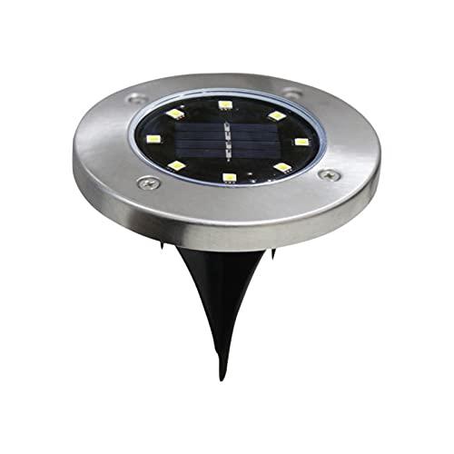 HKLY - Lámpara de pie solar con 8 LED solar, luz solar impermeable, pala vertebrada en suelo a la tierra (emitting color: 8 ledes Warm, vatios: 1 c)