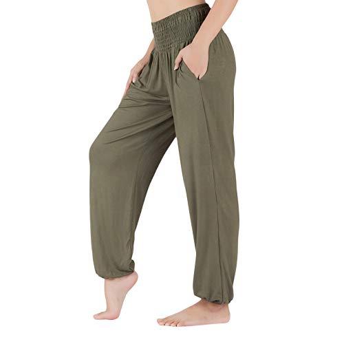 Lofbaz Pantalones de Yoga para Mujer Pantalones Deportivos de Cintura Alta Jogger Pijamas de Maternidad Legging Ropa para Mujer Verde Oscuro L