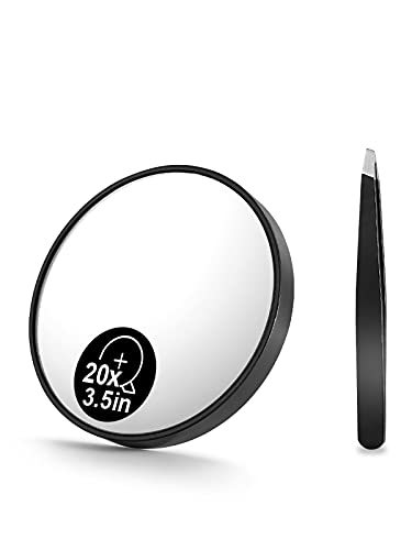 OMIRO 20X Magnifying Mirror and Eyebrow Tweezers Kit, 3.5' Two Suction Cups Magnifier Travel Set