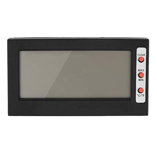 Ashley GAO Termómetro digital grande con pantalla LCD para congelador, higrómetro, memoria máxima mínima, Celsius Fahrenheit, con soporte trasero, color negro
