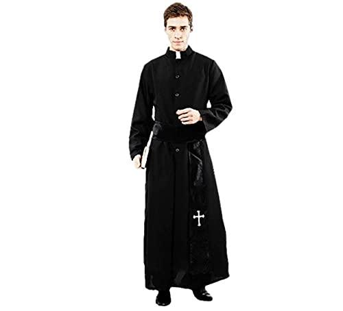Fantasia Traje Padre Religioso Exorcista Festa Halloween (PADRE, TAMANHO UNICO)