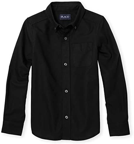 The Children s Place boys Uniform Oxford Button Down Shirt Black Small US product image