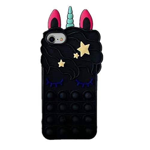 iPhone 12/12 Pro Case, Allkwookry Push Pop Bubble Fidget Toy 3D Animation Design Silicone Mobile Case, Suitable for iPhone 12/12 Pro Mobile Phone .(6.1) (Melody Black)
