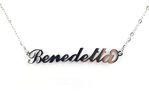 Collana Donna con Nome Benedetta in Acciaio in corsivo Elegante Girocollo Regolabile Anallergico Color Argento Confezione Regalo Inclusa