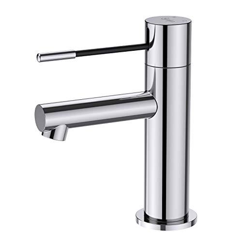 Synlyn Waschtischarmatur Bad Wasserhahn Chrom Badarmatur Waschbecken Armatur Mischbatterie Einhand-Waschtischbatterie für Badezimmer