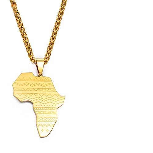 TUDUDU Mapa de África Collares Pendientes Color Dorado Cultura Africana Joyería Tradicional Fiesta de Hip Hop y encantos de Boda Regalos Longitud 60 cm o 23,7 Pulgadas