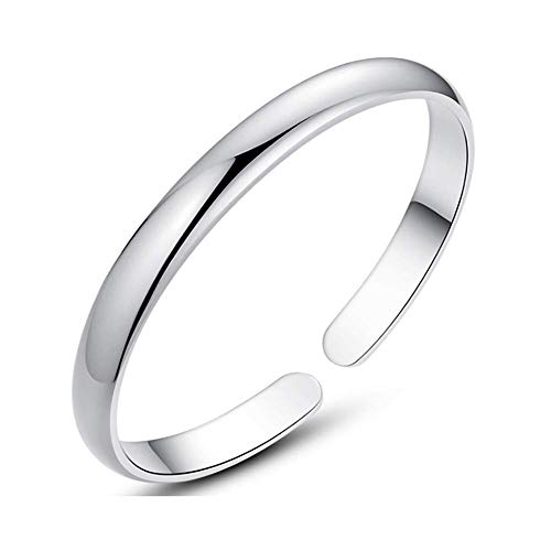 Blankspace Pulsera de plata S999 pie de plata pulsera modelos femeninos superficie simple luz abierta pulsera de plata esterlina para enviar chica a enviar mamá, E ~ 40g