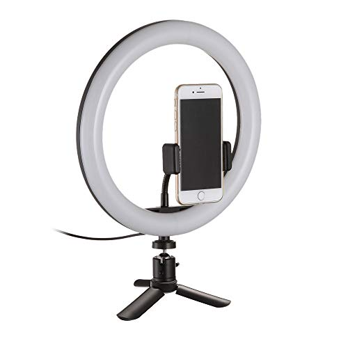 LED Ringlicht 10 Zoll mit Stativständer & Handyhalterung Makeup Ring Light Dimmable Videoleuchte Smartphone 3000K-5000K für Streaming, YouTube Video-Shooting, Fotografie Beleuchtung