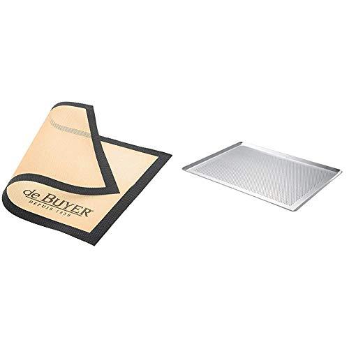 de Buyer 4938.40 Tapis Airmat Siliconé Aéré 40 x 30 cm & 7367.40 -Plaque patissie alu. Perf Bord p 40x30cm