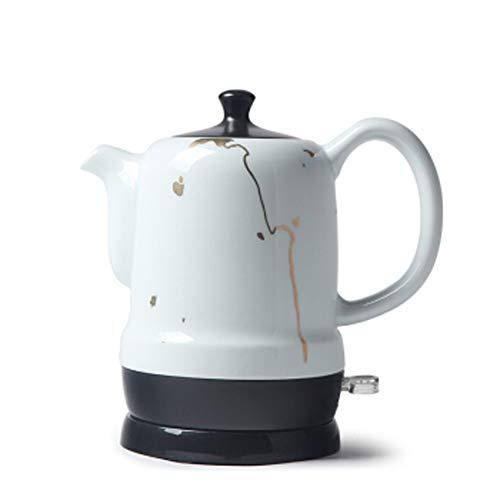 Elektrische keramiek, draadloos, wit, theeketel – Retro 1,7 l kruik – 1350 W – snelkookpan voor thee, koffie, soep, havermeel – afneembare bodem, droogbescherming
