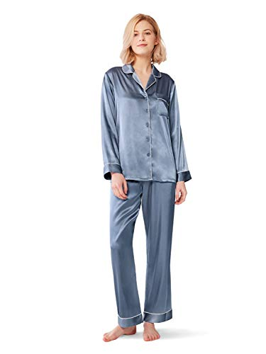 SIORO Ladies Pyjamas Set, Silk Satin Pyjamas for Women Long Sleeve Button-Down Sleepwear, Blue Grey, XL