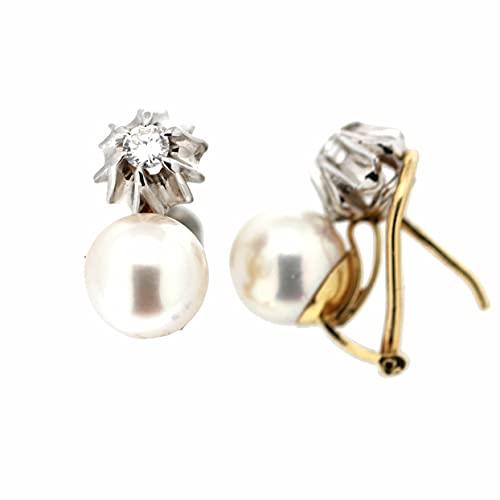 Pendientes perla diamantes Oro 18K [70-10152-P]