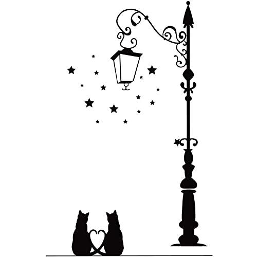 KID LOVE Pegatinas de Pared de decoración de Arte para el hogar,Pareja romántica de Gatos Camina bajo la farola,calcomanías de Vinilo para Pared DIY para el Aniversario del día de San Valentín-A
