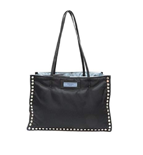 Prada Women's Tessuto Nero Astrale Black Etiquette Studded Tote Bag 1BG122