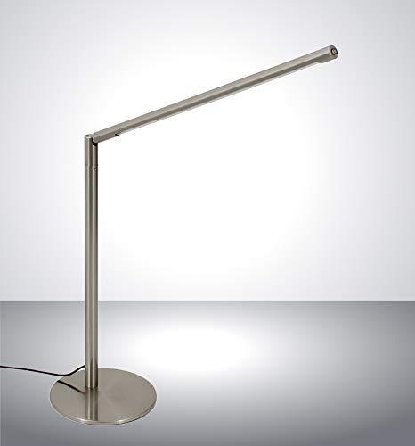 Trango 7489 LED Tischleuchte *STRAIGHT* Edelstahl-Optik Schreibtischlampe I Tischlampe I Leseleuchte I Lichtleise inkl. 1x 6.5 Watt LED Modul - 400 Lumen LED Leuchtmittel 3000K warmweiß