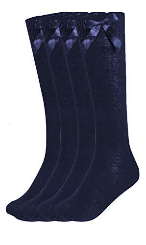 LE11-3 pares de calcetines altos de la rodilla del arco de las muchachas, blanco gris negro marino de la rodilla calcetines de la escuela secundaria con cintas lazos Azul azul marino 4/6/2016