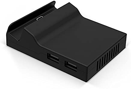 BASSTOP Portable Dock Replacement Case for Nintendo Switch (Only The case, You Have to DIY with The Circuit Board chip from The Original Dock) (Black)