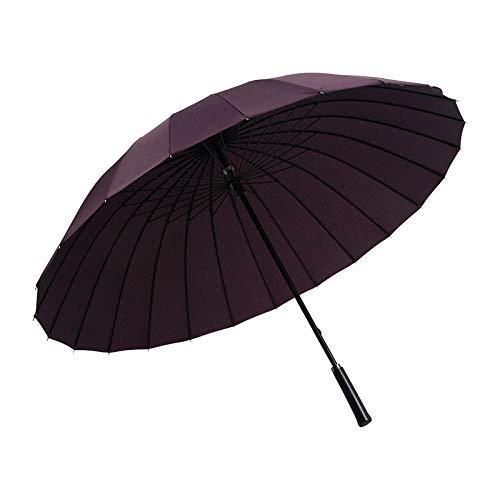 Paraguas recto resistente al viento para hombre de negocios de 24 huesos, gran regalo retro, paraguas de golf, paraguas publicitario, mango de cuero, púrpura_25 pulgadas * 24 k