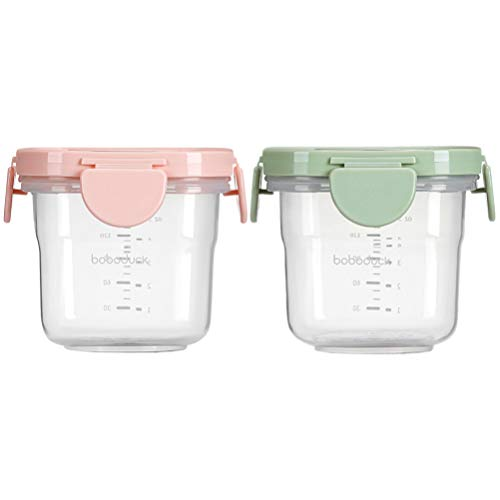 Toddmomy Glass Baby Blocks Food Storage Containers with Lids Baby Food Jars Baby Snack Storage Container Bowls Dishwasher- Safe BPA Free for Infant Baby 150ml 2 Pcs