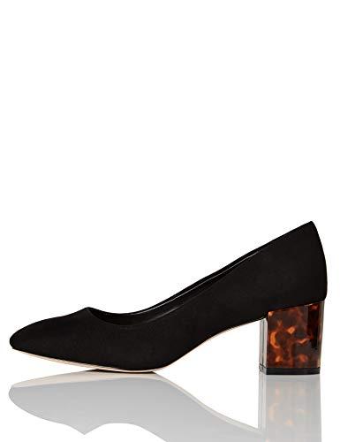 FIND Block Heel Round Toe Zapatos de Tacón, Negro (Black), 38 EU