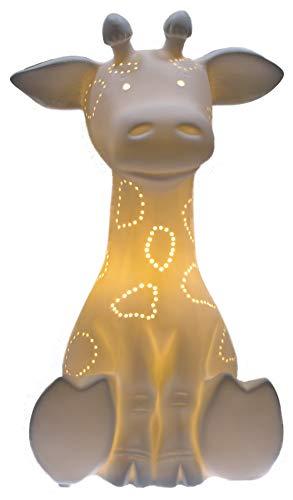 Dekorative Tischlampe aus edlem Porzellan mit elektrischer Beleuchtung Modell 30235 GIRAFFE D 18 x H 29,8 cm (Leuchtmittel nicht enthalten)