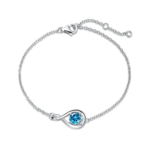 Plata de Ley 925 Pulsera de Piedra Natal de Noviembre Pulsera Infinity de Topacio Azul con Hermoso Joyería Regαlo de Navidad Cumpleaños de San Valentín Aniversario para Mujer Niña, 17+1.5+1.5cm