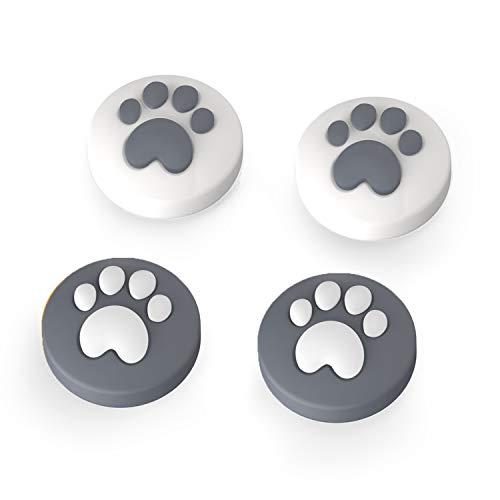 LeyuSmart Cat Claw Daumengriffkappen, Joystick-Kappe für Nintendo Switch & Lite, weiche Silikonhülle für Joy-Con-Controller (grau)
