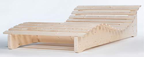 TUGA - Holztech Naturholz Massive wetterfeste extrem stabile stehende Liege Relaxliege Massivholzliege Liege Formliege Liegelänge 205cm 120cm breit Himmelsliege
