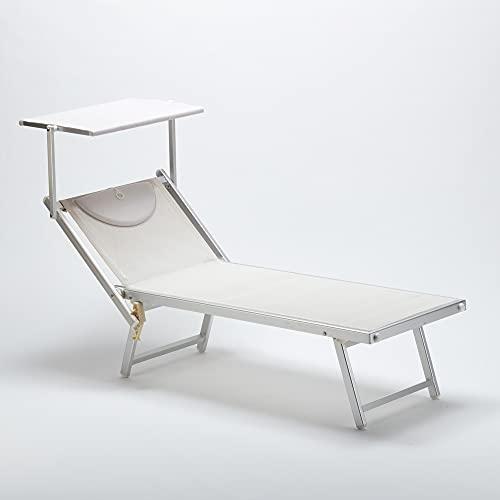 Lettino Prendisole Pieghevole Struttura in Alluminio con Cuscino e Tetto Parasole 190x60x38/76cm Resistente lettino da giardino spiaggia piscina rivestito in textilene Bianco