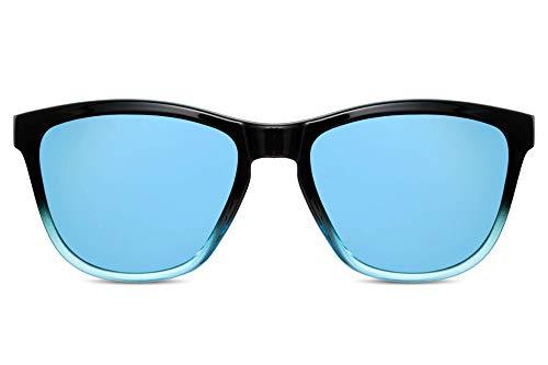 Cheapass Gafas de Sol Estilosas Gafas Deportivas Negras to Blue Montura con Cristales Azules Espejadas Protección UV400 Hombre Mujer