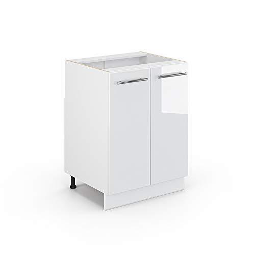 Vicco Küchenschrank Hängeschrank Unterschrank Küchenzeile Hochglanz Fame-Line (Weiß Hochglanz, Unterschrank 60 cm)