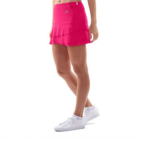 SPORTKIND Jupe Tulipe avec Poches et Shorts intégrés pour Tennis/Hockey sur Gazon/Golf pour Filles et Femmes, Rose Vif, Taille XXL (44-46)