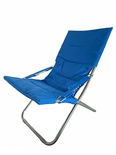 Sedia Sdraio Imbottita in Acciaio con Braccioli Pieghevole Blu 65x80x96 cm Spiaggina Regolabile Portatile Canapone