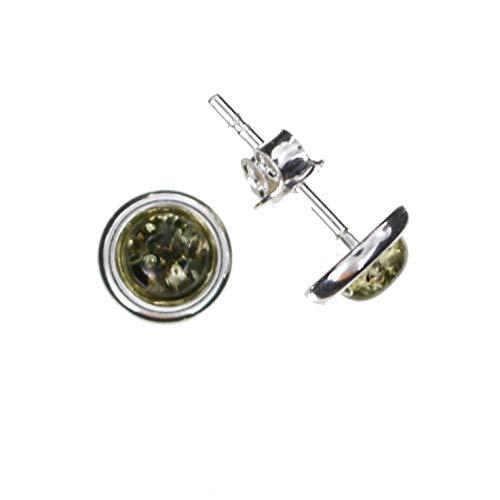 Runde grüne Ohrstecker mit Bernstein und 925/000 Sterling Silber von Artisana-Schmuck