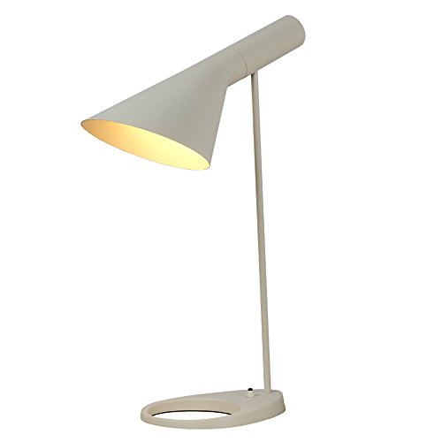 Pointhx Europa del Norte Personalidad Iron Desk Light Creative Simplicity Metal E27 LED Lámpara de Mesa para Leer Nightstand Dormitorio Sala de Estar Oficina (Color : White)
