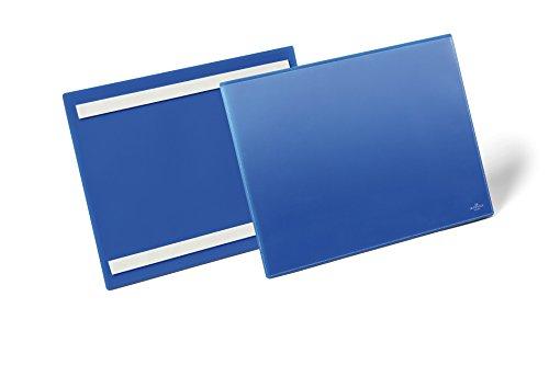 Preisvergleich Produktbild Durable 179807 Selbstklebende Kennzeichnungstasche (für Dokumente in A4 quer) Packung à 50 Stück dunkelblau