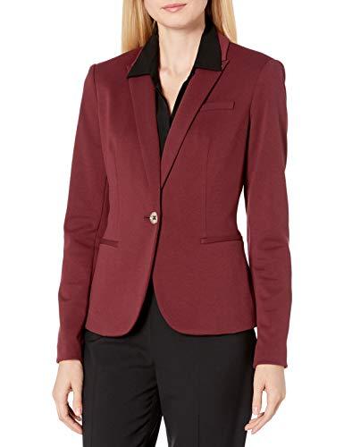 Tommy Hilfiger Women's One Button Blazer, Black Cherry/Black, 16