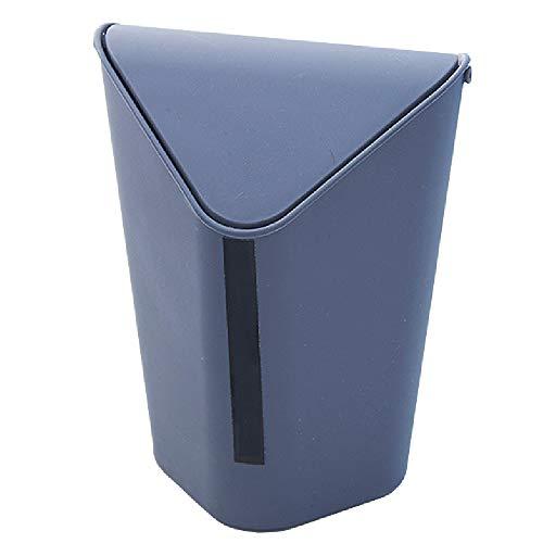 Gnohnay Desktop Bin Kunststoff mit Deckel, Dreieck Wippdeckel Abfalleimer Mülleimer für Schlafzimmer, Wohnzimmer, Büro (Non-Toxic/Tasteless),Chrome