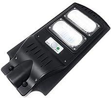 Faro lampada con pannello solare per lampione stradale a led 60W da esterno IP65 luce bianco ghiaccio 6500K in alluminio...