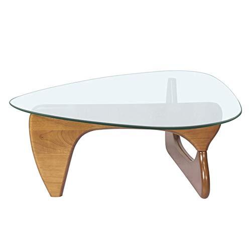 Mesa de centro de vidrio templado Mesa de centro triángulo Luz de nogal Base de vidrio para sala de estar, mesa lateral moderna Mesa centro de madera para el hogar