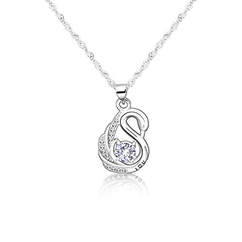 Zuo Bao Swan Necklace for Her Crystal Swan Pendant Love Gift (Silver)