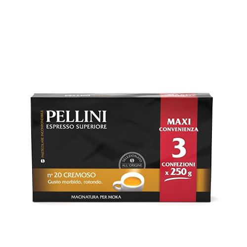 Pellini Caffè - Espresso per Moka, Gusto N. 20 Cremoso, Confezione da 3 x 250 g , 750 g