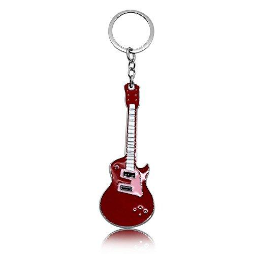 tumundo® Schlüsselanhänger Schlüsselring Rock E-Gitarre Musik Bass Schlüsselband Anhänger Rot