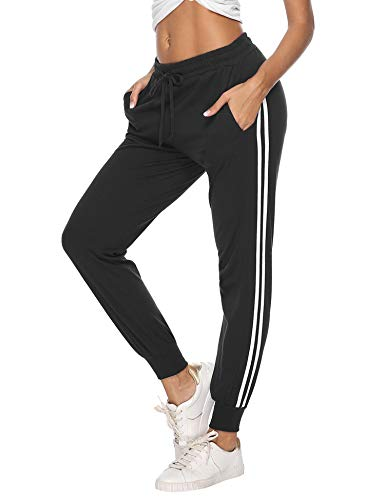 Aibrou Jogginghose Damen Sporthose Freizeithose Traininghose Baumwolle Lang für Jogging Laufen Fitness mit Streifen Schwarz M