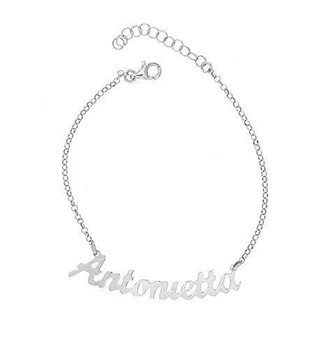 Pulsera para mujer con nombre de plata 925, pulseras personalizadas, ideal como regalo ajustable