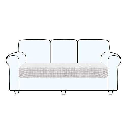 TAOCOCO Fundas de cojín para sofá,Protector de cojín de Asiento de Tela de poliéster de Alta Elasticidad (Blanco Ostra, 3 Asientos)