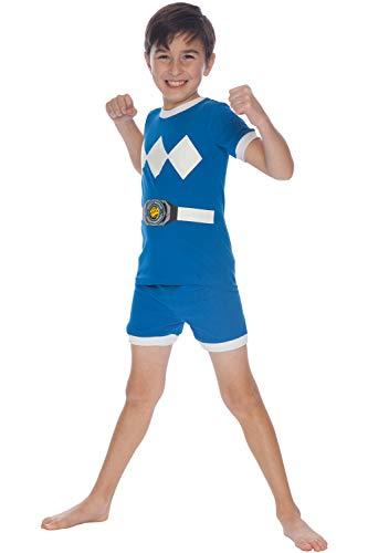 Power Rangers Kids Character Cotton Short Set Pajamas (Blue, 10)