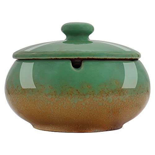 HONZUEN Cenicero Exterior o Interior Ceramica, Ceniceros Antiolores con Tapa, Fácil de Limpiar Antiviento Antiolor Ashtray para Jardin Oficina Balcón Sala de Estar, Verde
