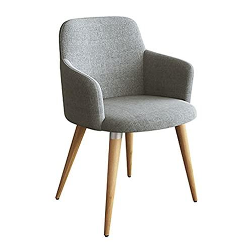 WYGK Esszimmerstühle,Milchtee-Café Lounge-Sessel Polsterstuhl Schmiedeeiserne Beine Terrassen-Dessertladen Verhandlungsstuhl (Color : Gris)
