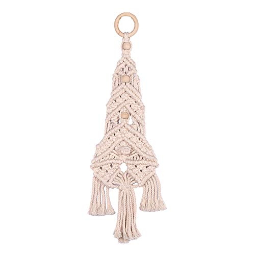 POHOVE Macrame Christmas Tree Wall Hanging Handmade Woven Christmas Tree Tapestry Macrame for Dorm Living Room Wedding Woven Cotton Tree Dream Catcher Wall Hanging Craft Decor Ornament